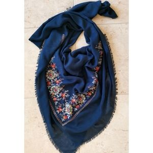 Large embroidered scarf shawl navy blue